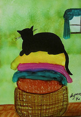 Aceo giclee PRINT art card cat laundry  limited edition
