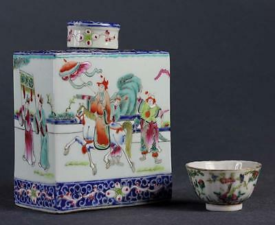 VERY FINE !! ANTIQUE famille rose Chinese tea caddy DECORATED WITH FIGURES