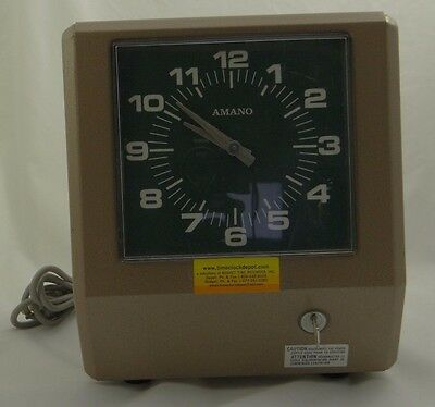 AMANO 6807 (Series 6800) TIME CLOCK ~ Electronic Punch Recorder ~Serviced w/ Key