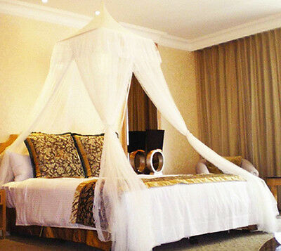 Bali Resort Style Elegant White Bed Canopy Mosquito Net Netting Bedroom Curtains
