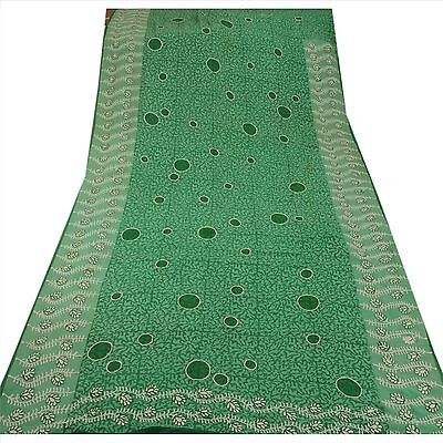 Vintage Indian 100% Pure Georgette Silk Saree Green Printed Sari Craft Fabric