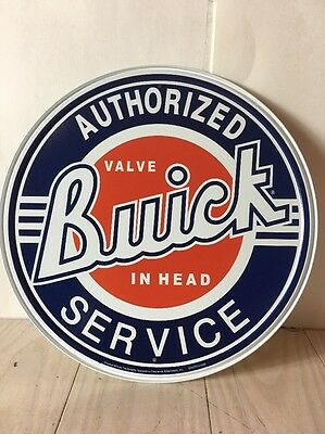 "Buick Authorized Service Valve in Head 12"" Round Metal Tin Sign Vintage Style"