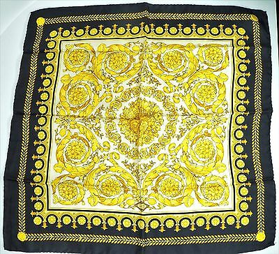 """MINT Atelier VERSACE Barocco Floral Foulard Silk Pocket Square 17"""" Italy RARE"""