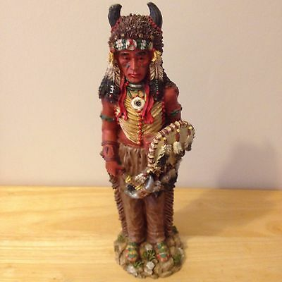 Collectable Native American/canadian Indian Figurine With Horned Head Dress