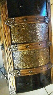 1800's Antique Victorian Pressed Embossed Tin Steamer Trunk Chest