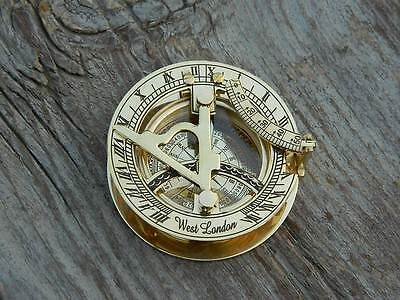 Nautical Solid Brass Working Pocket Sundial Compass Collectible Handmade Compass
