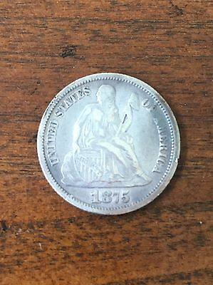 1875 Liberty Seated Dime Silver Coin US 90% Silver