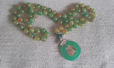 Vintage Apple Green Jade Necklace with Pendant
