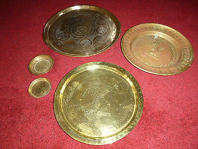 5 Indian Brass Trays