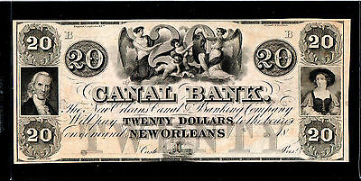 1850 $20 Louisiana New Orleans Canal Bank