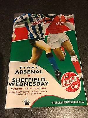 Football programme Arsenal v Sheffield Wednesday Coca Cola Cup 1993 Wembley
