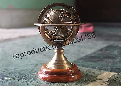 Solid Brass Antique Armillary World Globe Map Collectible Desk Armillary Decor
