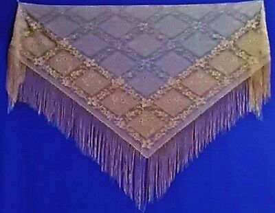 Beautiful   Antique Copper  Victorian Style Chantilly Lace Shawl