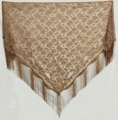 Victorian Style  LARGE  Antique Copper  Lace Shawl
