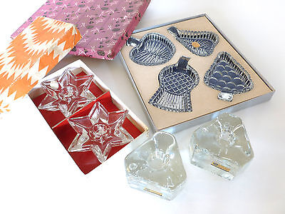 Bohemian glass dishes and candle holders - 8 items