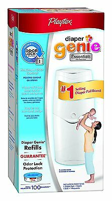 Diaper Genie Essentials Diaper Disposal Pail withStarter Refill, 100-Count