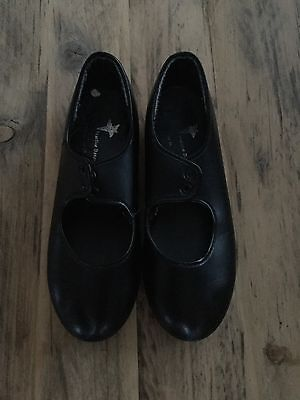 Girls Black Lace Up Tap Shoes Size 11 Starlite Dance