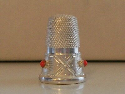 Lovely 925 Sterling Silver Continental Thimble with 3 Red Stones