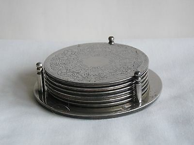 Set of 6 Vintage Silver Plated Decorative Coasters