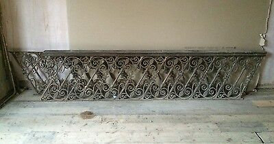 Two Antique Victorian Long Cast Iron Balustrades, Staircase Railings Ornate 9ft