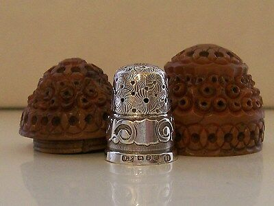 Nice Carved Vegetable Ivory Thimble Holder & James Fenton 1897 Silver Thimble