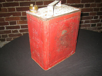 Vintage 2 gallon metal petrol can SM and BP Ltd