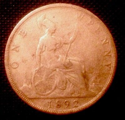 """Queen Victoria 1892 Penny """"Good"""" Condition But Cleaned."""