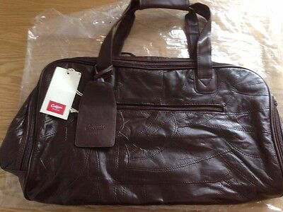 Cotton Traders Brown Patchwork Leather Holdall Cabin Bag