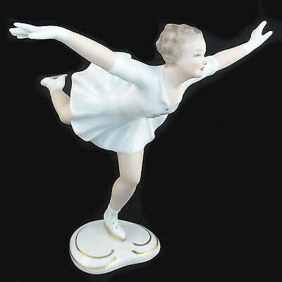 "ICE SKATER Figurine Wallendorf NEW NEVER SOLD 6.75""tall Porcelain EAST GERMAN"