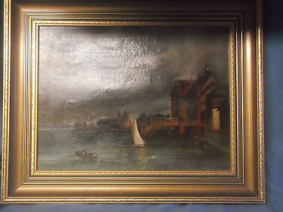 Antique  19th  Oil Painting On Canves Coastal Scene / Marine For Restoration Fra