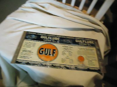 Unrolled Gulf Gulflube Motor Oil One Quart Tin Can or Sign From Estate