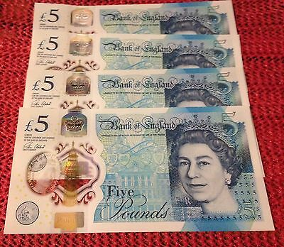 4 x CONSECUTIVE SERIAL NUMBERS 'AB42 £5 POLYMER  NOTES. *** UNMARKED ***