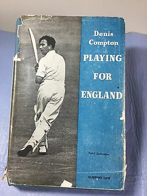 """Vintage Cricketing Book Denis Compton """"playing For England"""" Hardcover"""