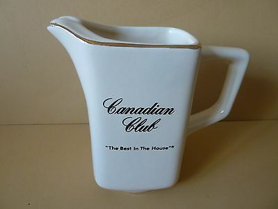 """CANADIAN CLUB PITCHER The Best In The House - Ivory, gold trim about 5-1/2"""" tall"""