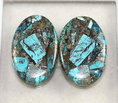 Lovely Pair  ! 23.70 Cts. Natural  Silver  Azurite Oval Cab For  Earrings