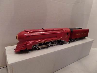 American Flyer Repaint RED Circus engine with Yellow cars by Ballston Loco Wks.