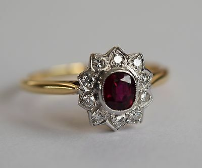 Exquisite 18ct gold & platinum diamond and ruby cluster engagement ring