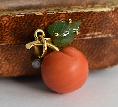 Gorgeous 18ct gold natural coral and jade nephrite apple pendant