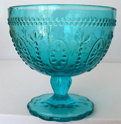 Collectible Vintage Aqua Footed Bowl Hobnail Finish & Flower Designs On Base