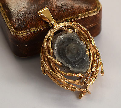 Exceptional heavy 14ct gold bespoke made large druzy chalcedony organic pendant