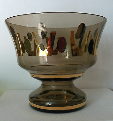 Elegant Light Chocolate Brown Crystal Pedestal Bowl Fine Gold & Silver Designs