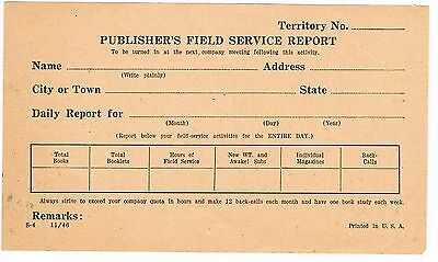 Watch Tower - Publisher's Field Service Report (1946)