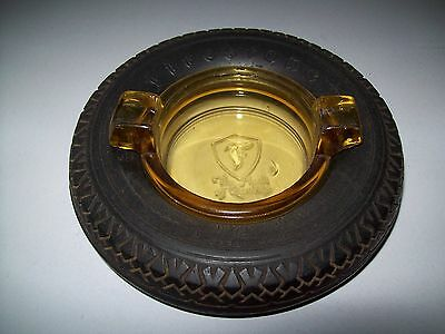 "Firestone 6"" Tire Ashtray with Amber Glass Embossed Insert High Speed Balloon"