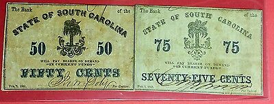 1863 Bank of State of South Carolina 75 & 50 Cents Notes