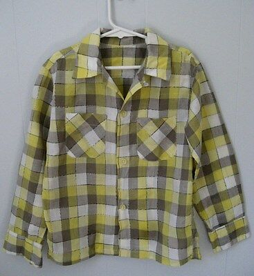 "Vintage 1950s plaid boy's shirt. Yellow and grey. 30"" chest Medium. Cotton."