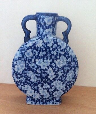 Vintage Blue And White Moon Flask Pottery Vase