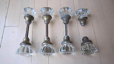 Vintage 12 Point Antique Victorian Glass Door Knobs Matching 8 Knobs Lot
