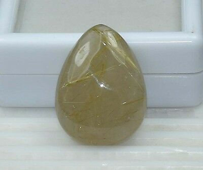 39.15 Cts. 100% Natural Golden Rutile Pear Cabochon For Making Pendant
