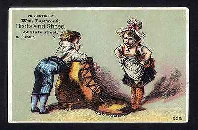 BOOTS and SHOES Victorian Trade Card ROCHESTER New York 1880's Children & Boot