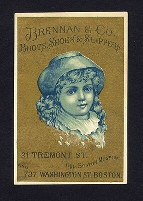 BOSTON Brennan & Co Tremont St BOOTS SHOES Victorian Trade Card 1880s Girl